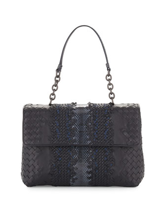 Olimpia Watersnake Shoulder Bag, Navy