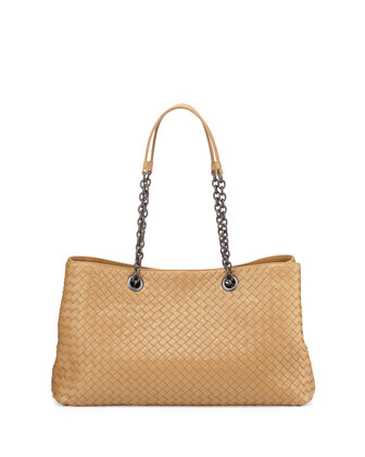 Double-Chain Woven Tote Bag, Camel