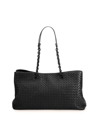 Double-Chain Woven Tote Bag, Black