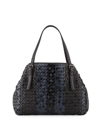 Medium Intrecciato Snakeskin Tote Bag, Black/Navy