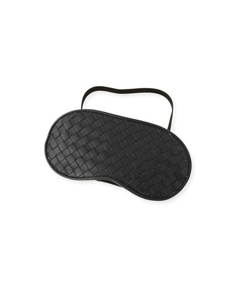 Intrecciato Leather Sleep Mask, Black