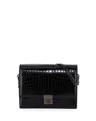 Crocodile 3/4-Flap Shoulder Bag, Black