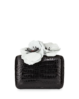 Poppy-Topped Crocodile Box Clutch, Black/White