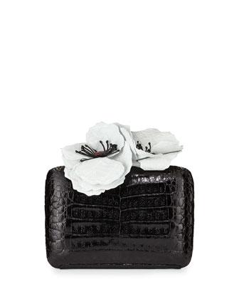 Poppy-Topped Crocodile Box Clutch Bag, Black/White