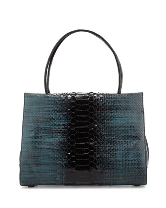 Wallis Medium Python/Crocodile Frame Bag, Teal/Black