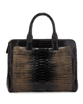 Large Modern Crocodile/Python Tote Bag, Black Multi