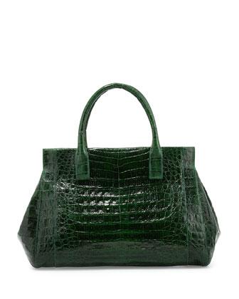 Crocodile Medium Soft Lady Bag, Kelly Green Shiny