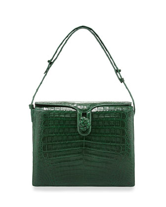 Crocodile Small Knot Shoulder Bag, Green Matte