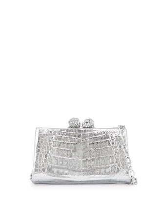 Crocodile Knot Clutch Bag w/Chain, Silver Mirror