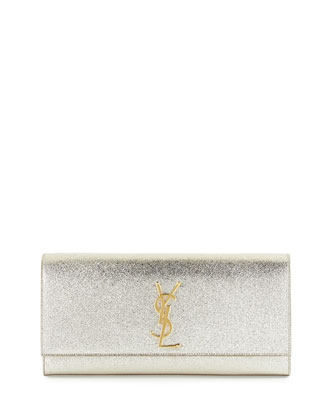 Monogram Metallic Clutch Bag, Pale Gold