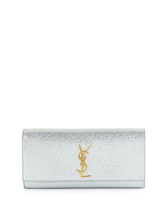 Monogram Metallic Clutch Bag, Silver