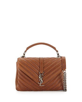 Monogram College Medium Chain Satchel Bag, Cognac