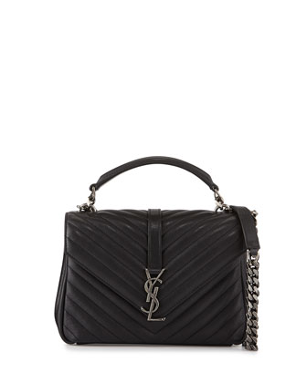 Monogram College Medium Chain Satchel, Black