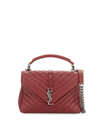 Monogram College Medium Chain Satchel Bag, Bordeaux