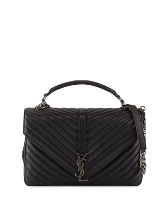 Monogram College Large Chain Satchel Bag, Black