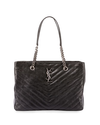 Monogram College Chain Tote Bag, Black