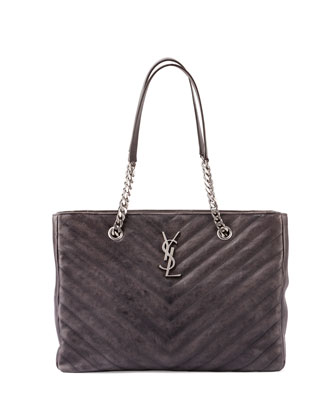 Monogram College Chain Tote Bag, Dark Gray
