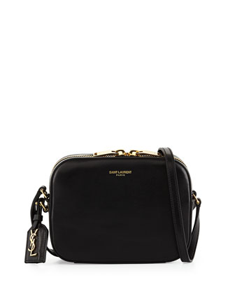 Monogramme Small Croc-Embossed Crossbody, Black