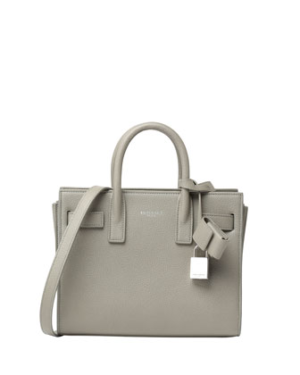 Sac de Jour Small Grain Leather Tote Bag, Light Gray