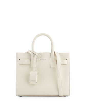 Sac de Jour Mini Grain Leather Tote Bag, White