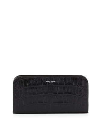 Crocodile-Embossed Zip Wallet, Black