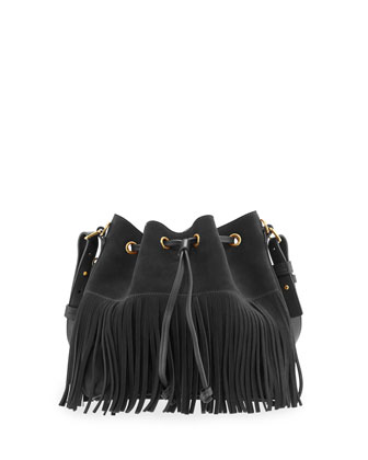 Emmanuelle Small Suede Fringe Bucket Bag, Black