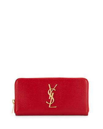 Monogram Leather Zip Wallet, Red