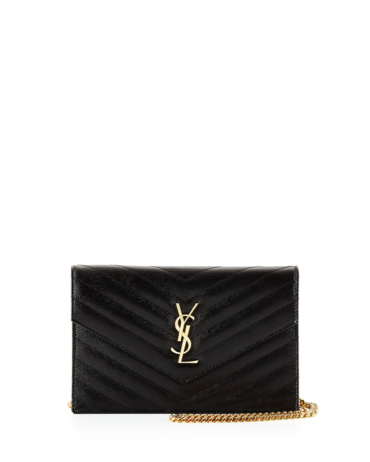 Monogram Matelasse Wallet on Chain, Black - Saint Laurent