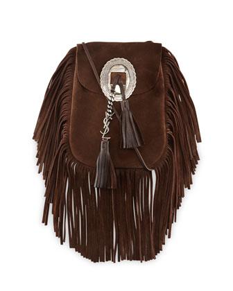 Anita Suede Flat Fringe Crossbody Bag, Dark Brown