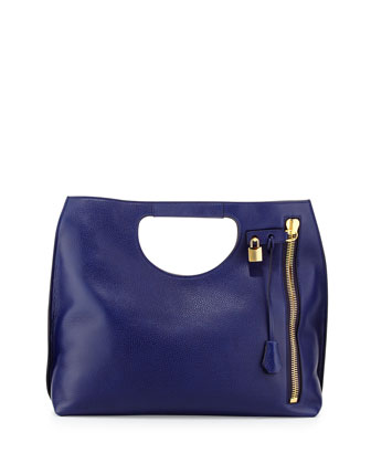 Alix Large Calfskin Shopper Tote Bag, Cobalt Blue