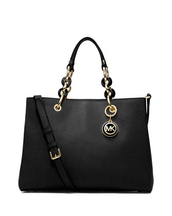 Cynthia Medium Saffiano Satchel Bag, Black