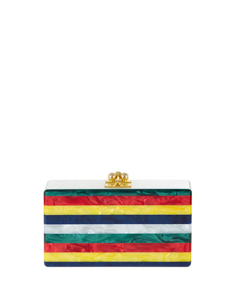 Jean Striped Clutch Bag, White Multi
