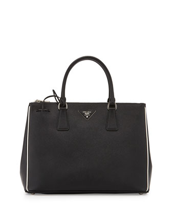 Saffiano Lux Tote Bag, Black/White (Nero/Talco)