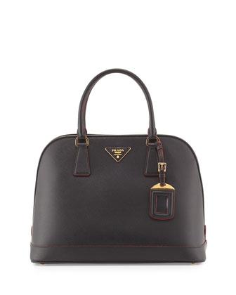 Saffiano Lux Promenade Bag, Black/Red (Nero+Rosso)