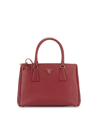Saffiano Lux Small Double-Zip Tote Bag, Wine (Cerise)
