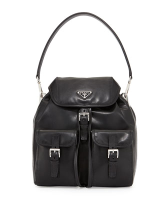 Soft Calfskin Shoulder Bag, Black (Nero)