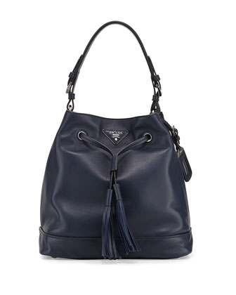Soft Calf Bucket Bag, Blue (Baltico)