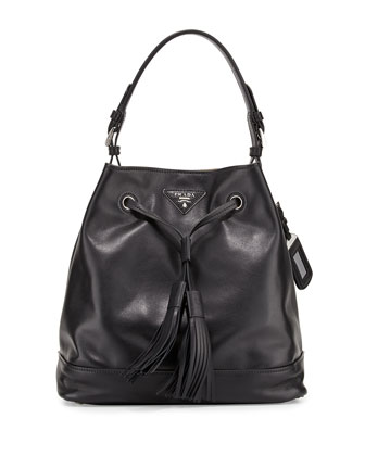 Soft Calf Bucket Bag, Black/Tan (Nero/Cammello)