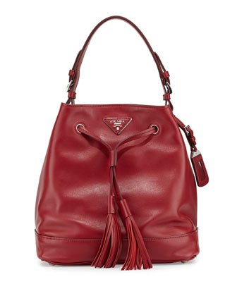 Soft Calf Bucket Bag, Red/Black (Rubino/Nero)