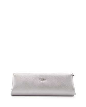 Saffiano East-West Frame Clutch Bag, Silver