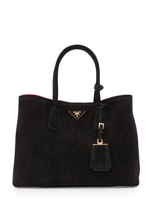Suede Medium Double Bag, Black/Red (Nero+Rosso)