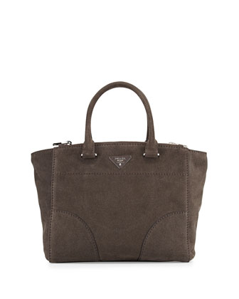 Suede Twin Pocket Tote Bag, Stone Gray (Cenere)