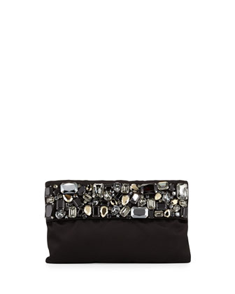 Satin Crystal Pochette, Black (Nero)