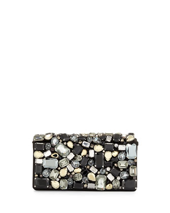 Embroidered Satin Evening Bag, Black (Nero)