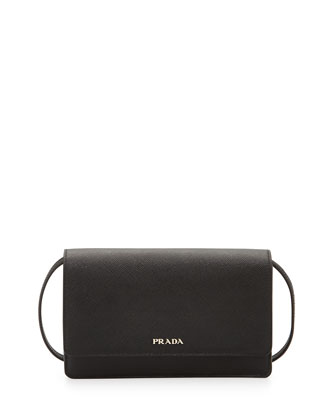 Saffiano Lux Mini Crossbody Bag, Black