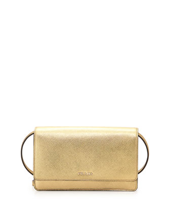 Saffiano Lux Mini Crossbody Bag, Gold