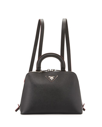 Saffiano Lux Promenade Backpack, Black