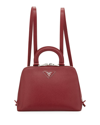 Saffiano Lux Promenade Backpack, Bordeaux (Cerise)