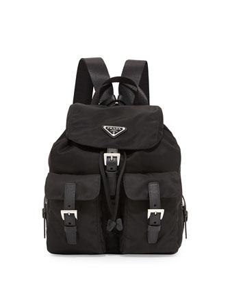 Vela Small Two-Pocket Backpack, Black (Nero)