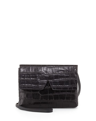 Signature V Croc-Embossed Baby Crossbody Bag, Black